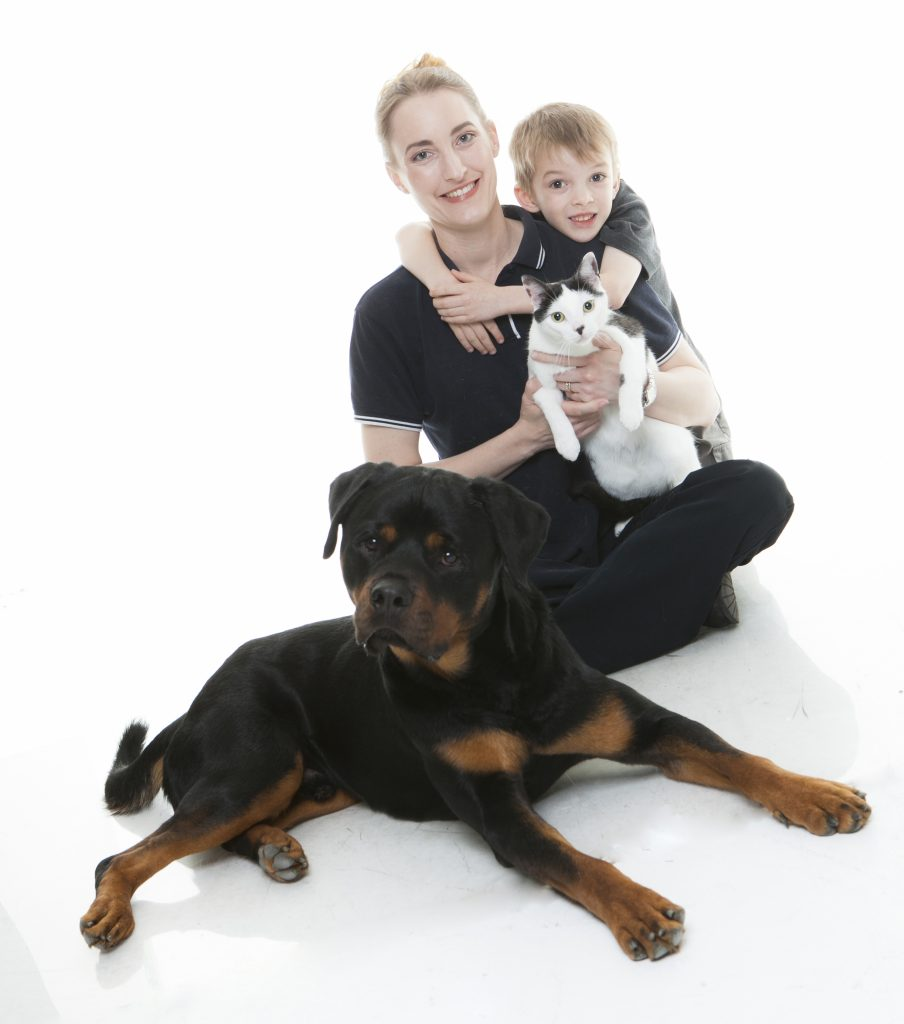 Aunty Helen with dog cat and boy